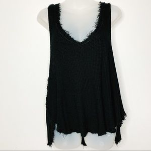 FREE PEOPLE Fringed Hem High Low Waffle Knot Tank